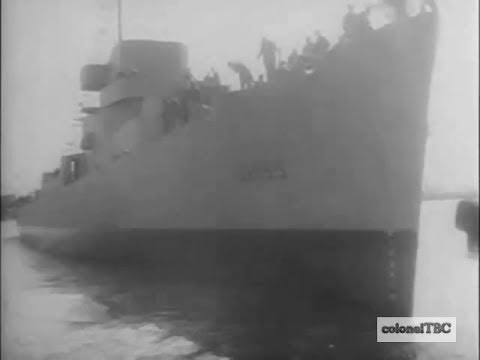 Destroyer escort USS Hopping (DE-155) and Oil tanker launched - March 1943