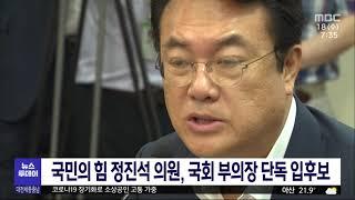 국민의힘 정진석 의원 국회 부의장 사실상 확정/대전MB…