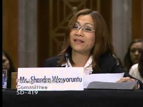 Shandra Woworuntu Testimony at Senate Foreign Relations Committee Hearing on Ending Slavery