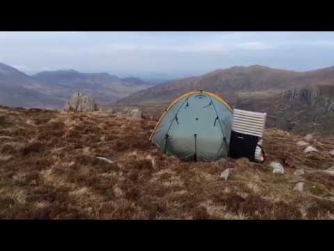 Wild camping on the Tryfan Snowdonia in a one man tent with my lovely wife