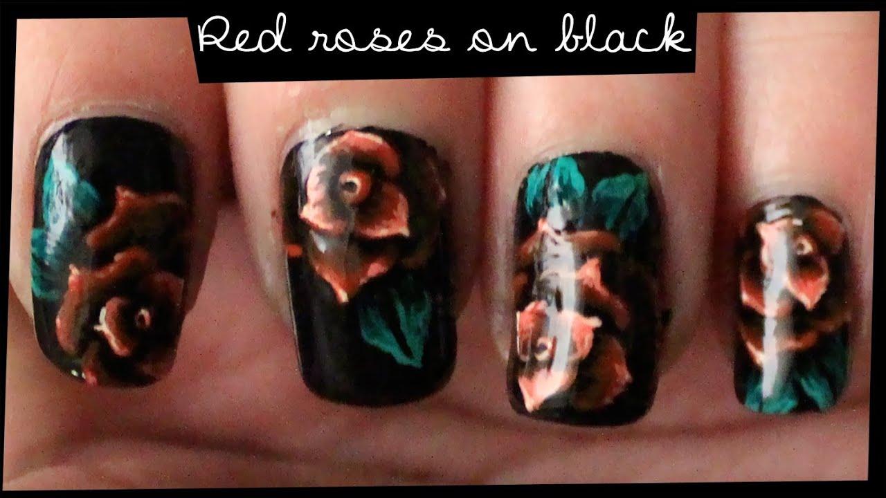 red roses black nail art