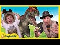 Raptor Dinosaurs vs Park Ranger Aaron In Real Life Dinosaur Park with Surprise Toys Fun Kids Video