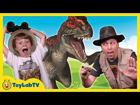 Raptor Dinosaurs & Park Ranger Aaron at a Dinosaur Park with Surprise Toys in Family Fun Kids Video