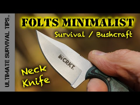 EDC Micro Neck Knife for Survival / Bushcraft / Hunting - CRKT Folts Minimalist Neck Knife -Best