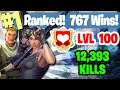 #1 World Ranked - 767 Wins - 12,393 Kills - Level 100 - Sponsor Goal 363/400