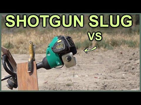 Massive 572 gr. Shotgun Slug vs RUNNING Weed Wacker