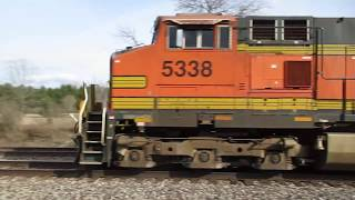 BNSF 5338 speeding East with auto carriers over the CN/GTW by Vicksburg, MI