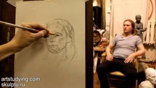 Обучение рисунку. Портрет. 10 серия: пример построения портрета
