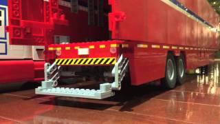 Lego Red Reefer Semi Truck Box Trailer
