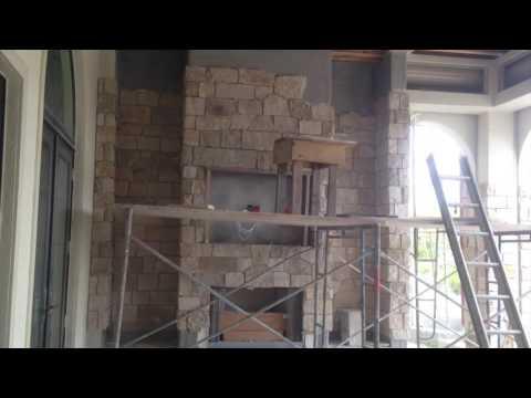 Laying Stone Outdoor Fireplace Masonry Multi- Million Dollar Homes