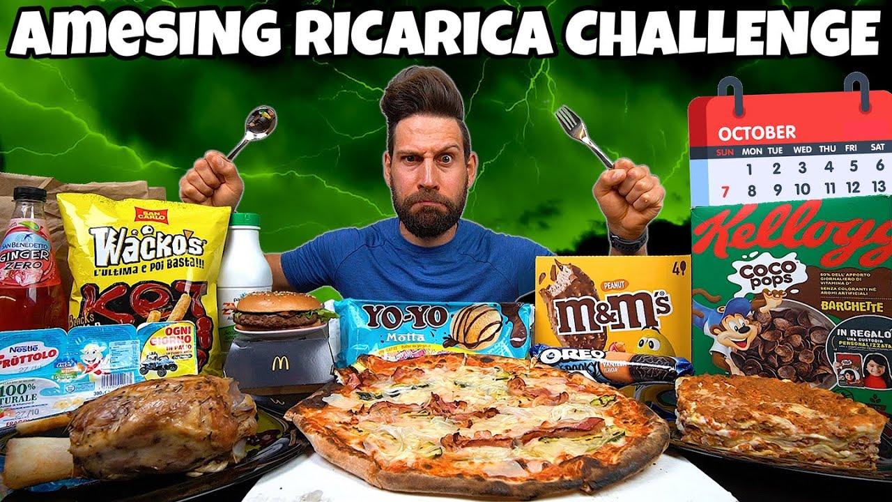 aMESIng RICARICA CHALLENGE di OTTOBRE (9000 Calorie) MAN VS FOOD