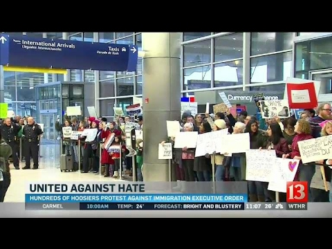 Crowd of more than 1,000 protests executive order at airport
