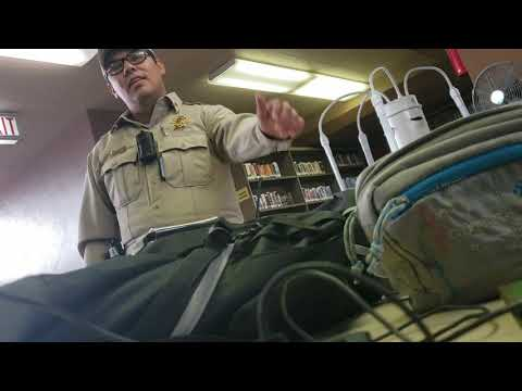 Friendly Police Deputy visits me at the library; Crane, Texas