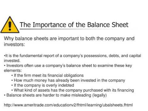 Ch. 7: The Balance Sheet - Youtube