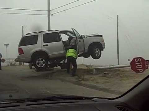 world s craziest car accident driver defies gravity otay mesa