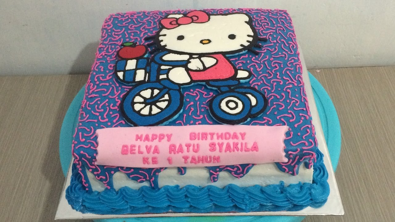 Hello Kitty Cycling Cake Buttercream Transfer YouTube