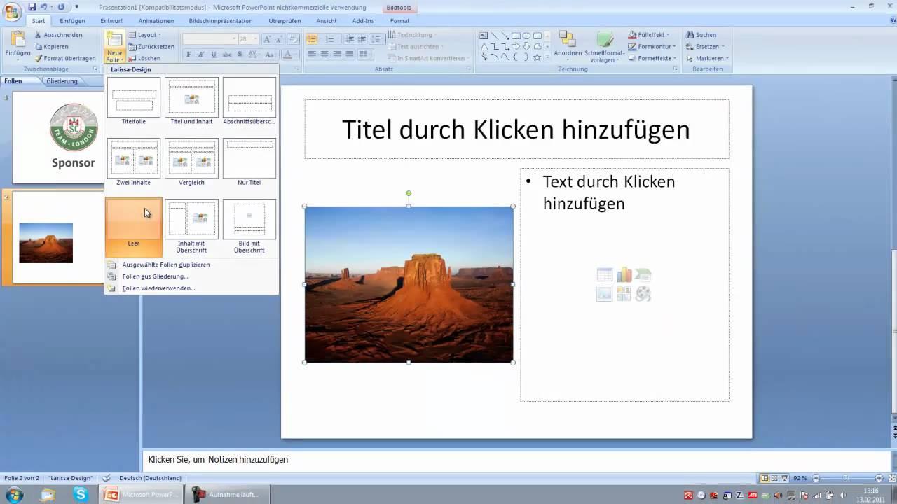 Bilder in eine Powerpoint-Präsentation einfügen - YouTube