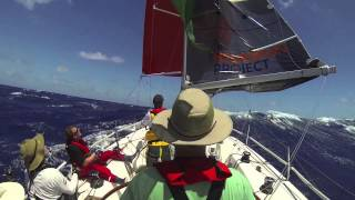 Yacht surfing downwind in Bass Strait