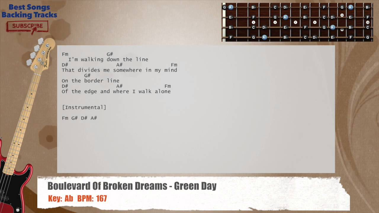 boulevard of broken dreams green day bass backing track with chords and lyrics youtube. Black Bedroom Furniture Sets. Home Design Ideas