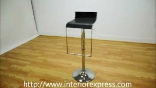 Interiorexpress Lem Walnut Or Black Adjustable Swivel Piston Bar Stool