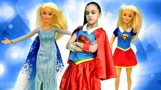 Барби Принцесса или СуперГерл? Видео для девочек. Одевалки Барби