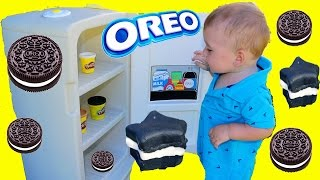 GIANT PLAY KITCHEN Cooking with Baby Eli Make PLAY-DOH Oreo Cookies Pretend Play