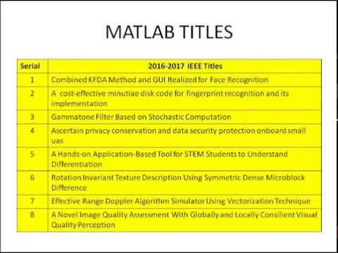 MATLAB ieee initiatives 2017-2018 | MATLAB newest ultimate
