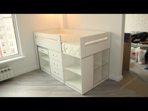 Детская кровать на заказ. Фурнитура Блюм. Мебель в детскую из ДСП. Кроватка с выездным столом.