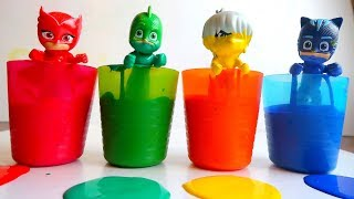 Pj Masks Magic Cups toys with Painting And Learn Colors with Pj Masks Colorful Cups