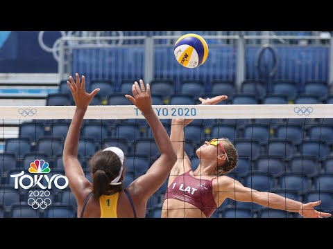 Latvia's FIRST EVER Olympic beach volleyball win comes vs. Brazil  Tokyo Olympics  NBC Sports