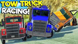 INSANE Tow Truck Mountain Race Causes BIG CRASHES in BeamNG Drive Mods!