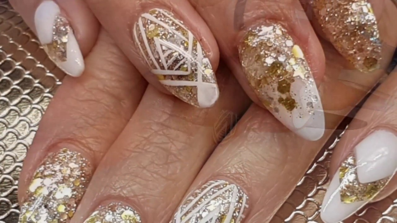 White & Gold Acrylic Almond Nail Design with Freehand Art - YouTube
