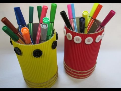 Diy 37 Pencil Holder From Recycled Snack Can Youtube