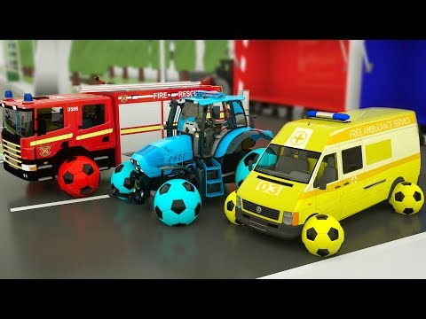 Learn Colors Monster Construction Vehicle, Tractor assembly by Train for Kids Children