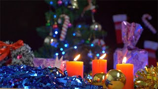 Closeup shot of decorated home interior with Christmas tree - bokeh effect, festival celebration
