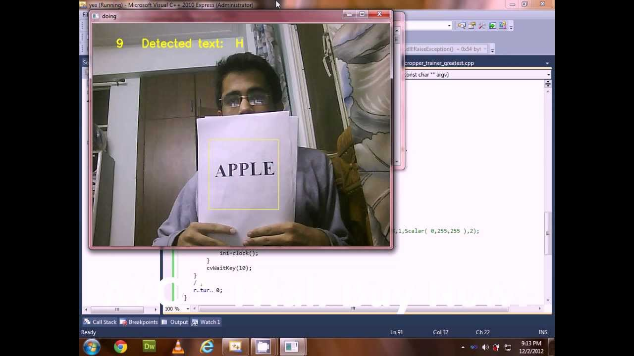 Text Recognition using Opencv