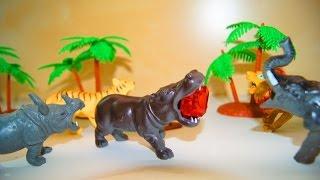 Животные. Спасите бегемота!  Видео с игрушками. Игрушки животные