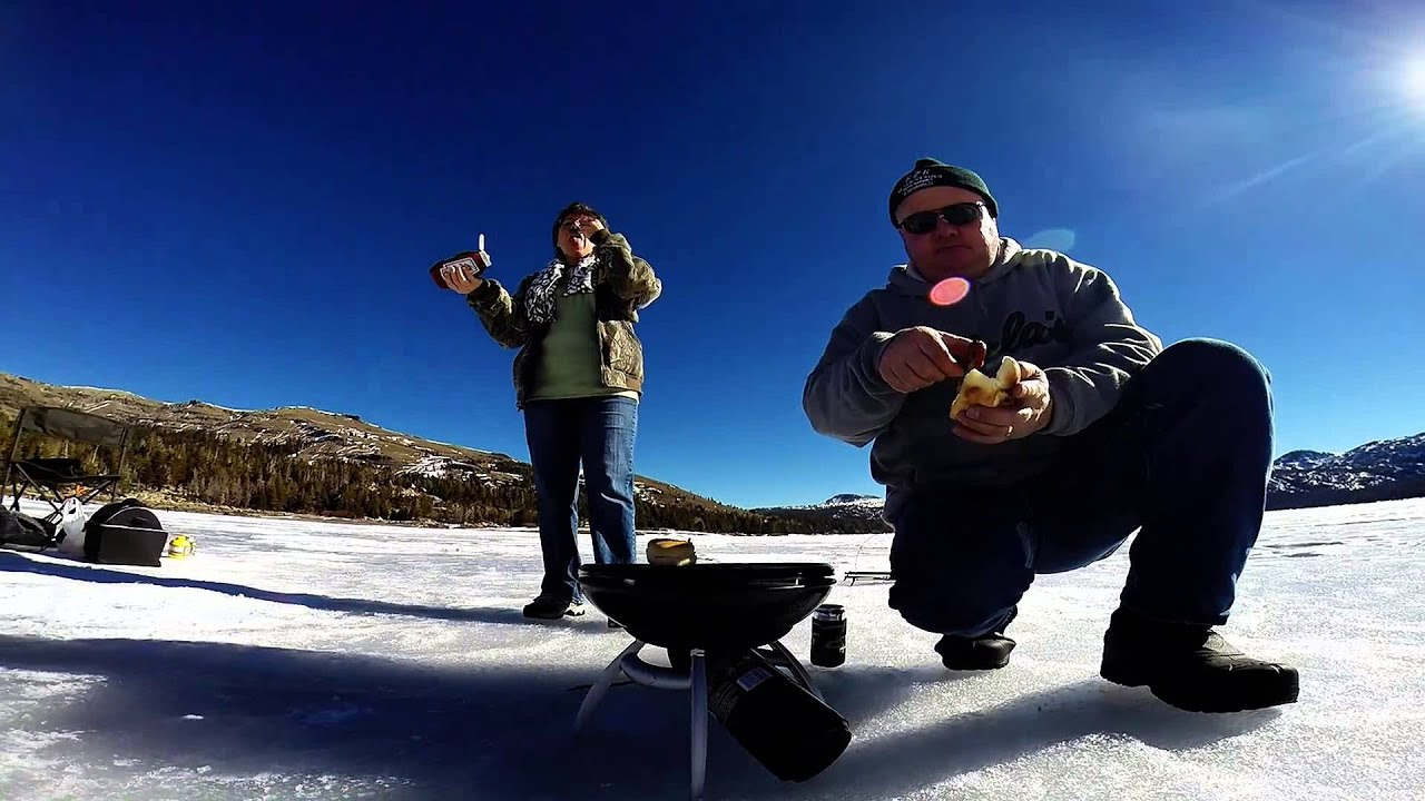 Ice fishing on california 39 s caples lake youtube for Caples lake fishing report