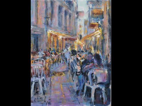 Secrets 8 - Cafe at night, Toulouse. Lesson using acrylics.