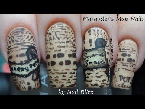 Easy Marauder S Map Harry Potter Diy Nail Art Tutorial Youtube