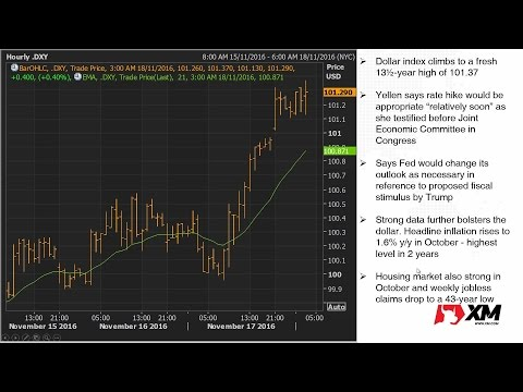 Forex News: 18/11/2016 - Dollar highest since 2003 as Yellen signals rate hike soon