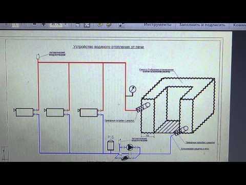 Схема обвязки водяной сиситемы отопления от печи