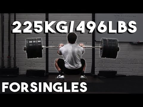 225kg/496lbs Pause Front Squat for Singles