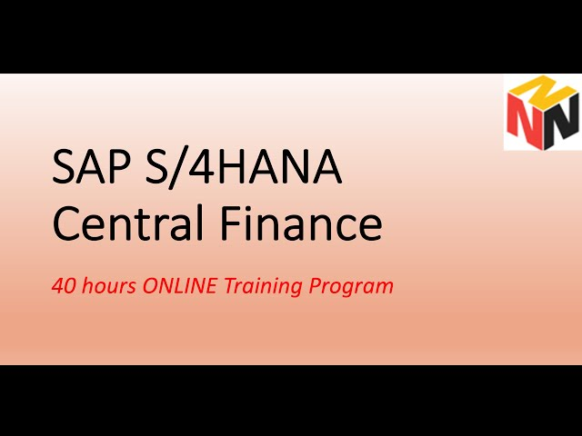 SAP Central Finance ONLINE Training session 1