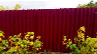 Установка забор из профнастила и штакетника.