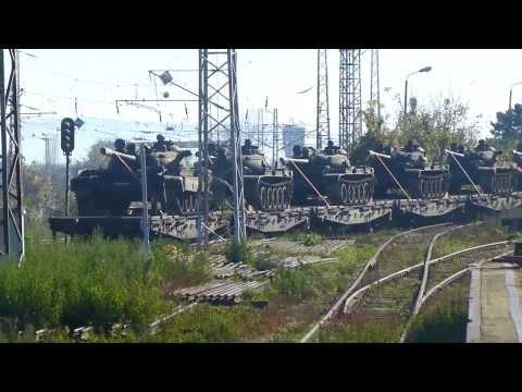 Bulgarian T-55 tanks on Train, on way to docks