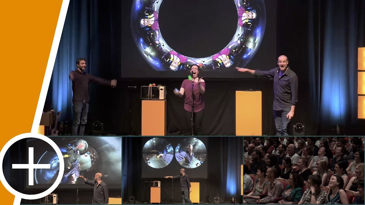 Stand-up comedy routine using a live spherical camera