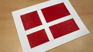 Danish Flag Drawing 🇩🇰