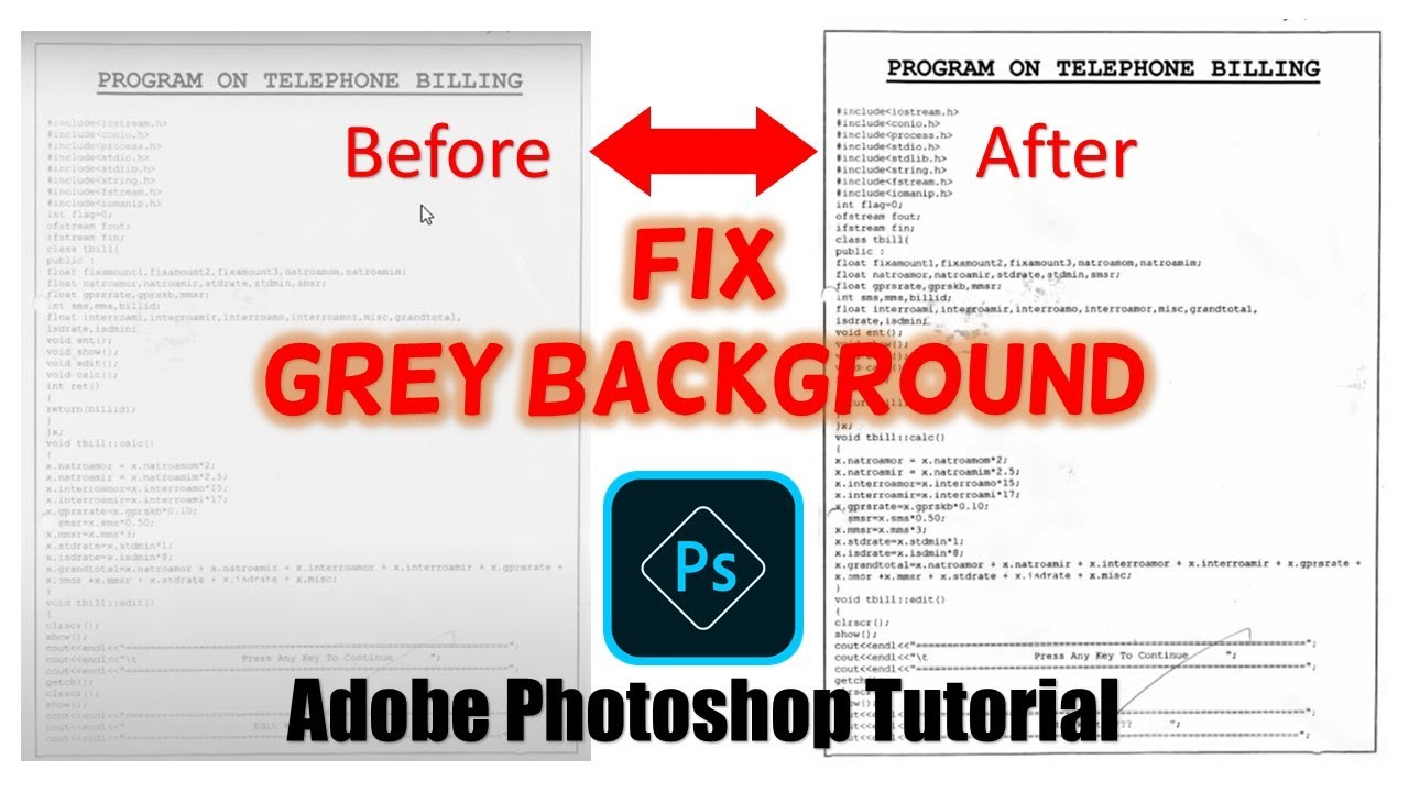 How to Remove Gray Background From Scan Images | Adobe Photoshop CC
