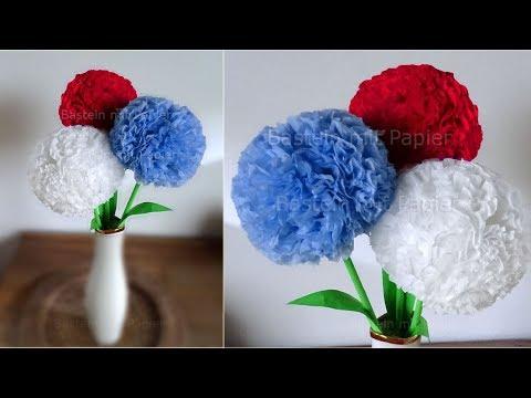 Runde Blumen Basteln Mit Papier Servietten Deko Mit Pompoms